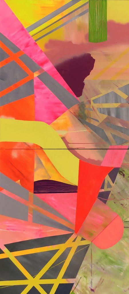 Ursula Schregel, Quadromania 1-2, 2020, Acryl auf Leinwand, 240x120cm